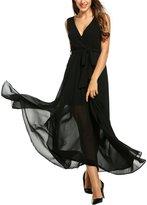 Meaneor Women's Bohemian Print Side Slit Long Maxi Dresses for Beach (/L)
