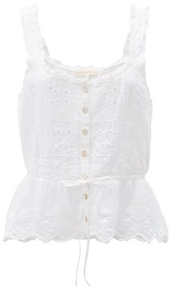 LoveShackFancy Luanne Drawstring Broderie-anglaise Cotton Blouse - White