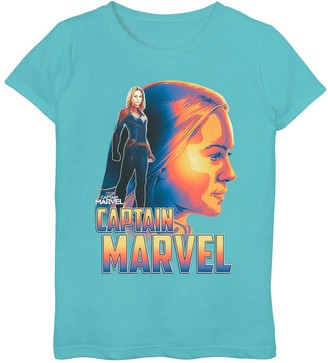 Marvel Girls 7-16 Captain Portrait Graphic Tee