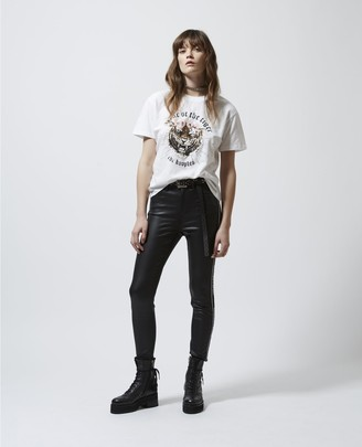 The Kooples Leather-like slim-fit black jeans w/logo trim