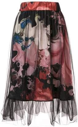 Roberts Wood tulle overlay printed skirt