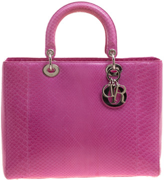 Christian Dior Pink Python Large Lady Tote