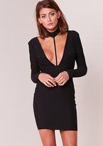 Missy Empire Amy Black Plunge Collar Detail Bodycon Dress