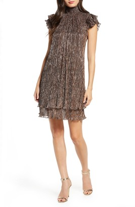 Chelsea28 Mock Neck Metallic Shift Dress