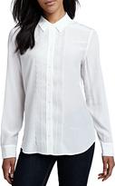 Equipment Brett Long-Sleeve Scallop Blouse, Bright White