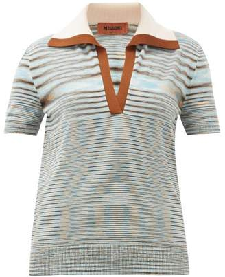Missoni Spread-collar Wool-blend Knitted Polo Shirt - Womens - Blue Multi