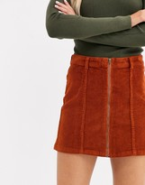 Only Nyla corduroy zip front a line skirt
