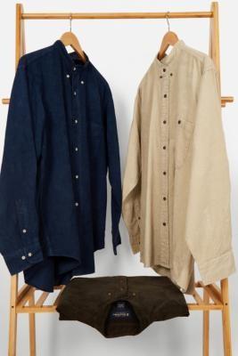 Urban Renewal Vintage Corduroy Grandad Collar Shirt - Assorted S/M at Urban Outfitters