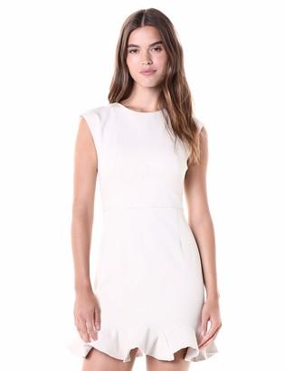 Halston Women's Cap Sleeve Round Neck Dress w/Flounce Hem
