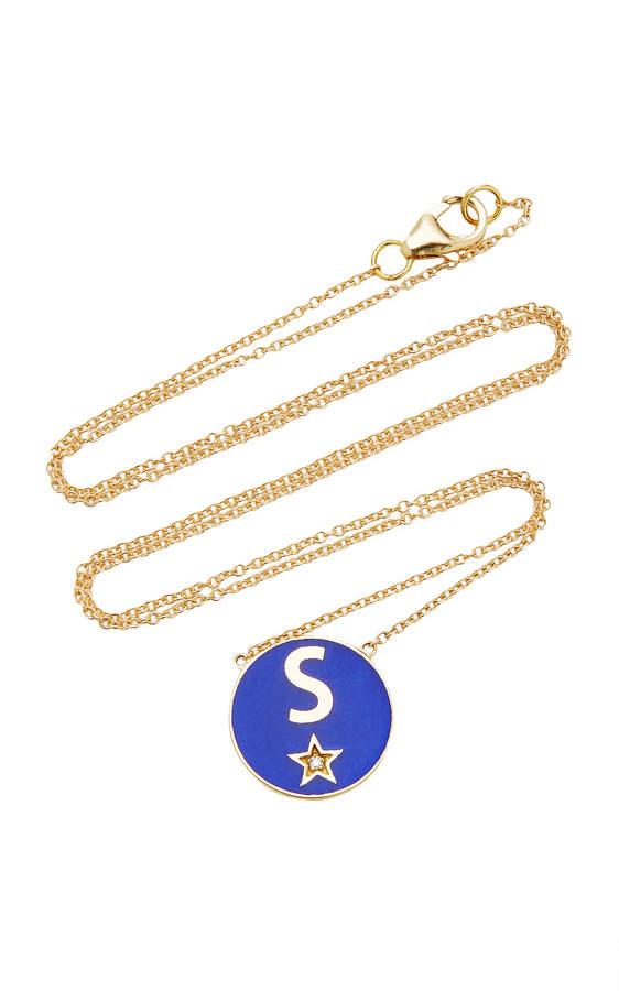 Andrea Fohrman M'Onogram Lapis Blue Enamel Necklace