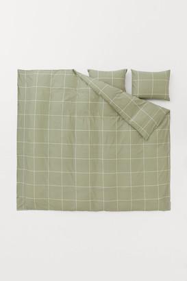H&M Checked Duvet Cover Set