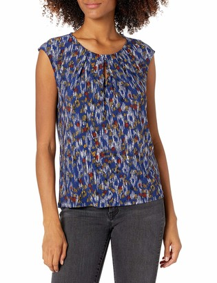 Kasper Women's Scattered DOTS Printed Keyhole CAMI with Cap Sleeve