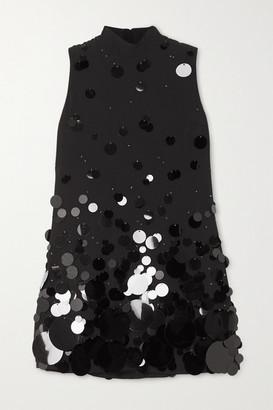 Prada Paillette-embellished Cady Mini Dress - Black