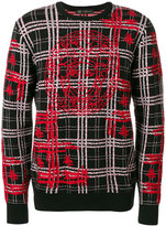 Versace medusa embroidery checked jumper