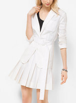 Michael Kors Belted Cotton-Poplin Blazer