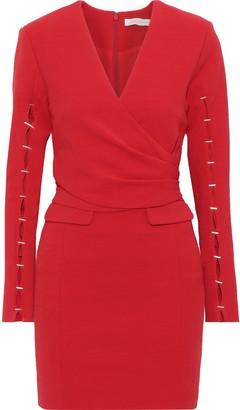 Jonathan Simkhai Wrap-effect Embellished Cady Mini Dress