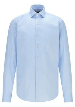 HUGO BOSS Regular Fit Shirt In Cotton Twill With Spread Collar - Light Blue
