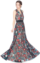 Alice + Olivia Ally Embroidered V-Neck Gown