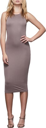 Good American Microrib Sleeveless Midi Body-Con Dress
