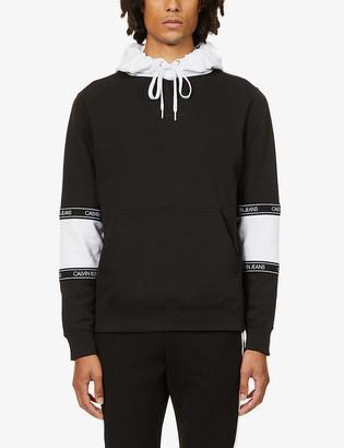CK Calvin Klein Colour-blocked cotton-jersey hoody