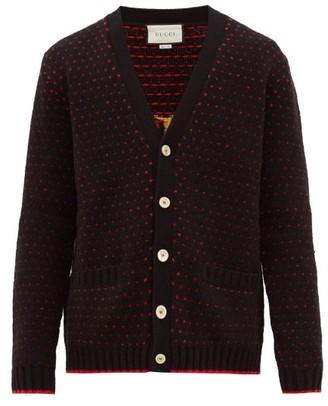Gucci Lamb-intarsia Wool Cardigan - Black