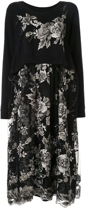 Antonio Marras Floral-Embroidered Layered Dress