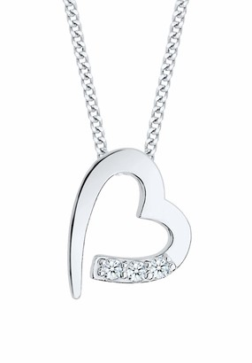 Diamore Women's 925 Sterling Silver Xilion Cut Heart Diamond Necklace of Length 45 cm