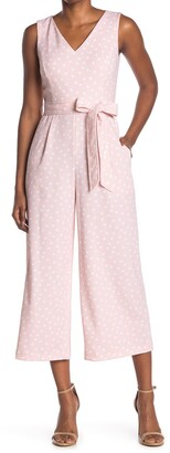 Calvin Klein V-Neck Tie Belt Polka Dot Print Crop Wide Leg Jumpsuit