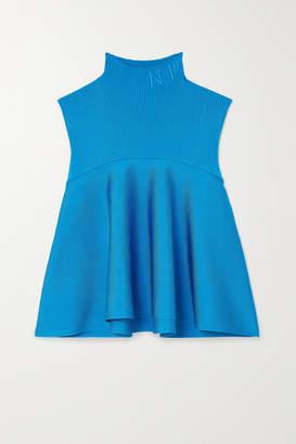 Nina Ricci Embroidered Stretch-knit Turtleneck Top - Blue
