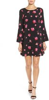CeCe Floral Bell Sleeve Shift Dress