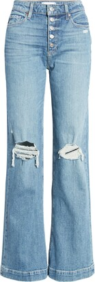 Paige Leenah High Waist Exposed Button Fly Flare Leg Jeans