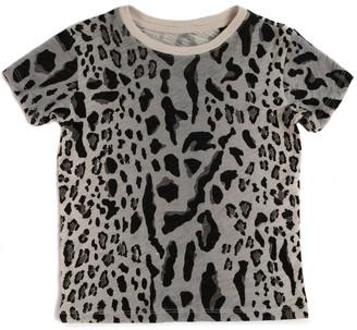 Atm Kids Slub Jersey Short Sleeve Tee - Silver/ Pavement Leopard