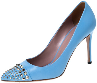 Gucci Light Blue Leather Coline Studded Pointed Pumps Size 37