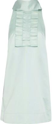 ALEXACHUNG Tie-neck Ruffle-trimmed Satin-crepe Mini Dress