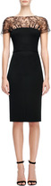 Nina Ricci Fitted Pencil Dress with Lace Neckline