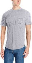 Southpole Men's Short Scallop T-Shirt with Ripped Details on Pocket and Sleeves