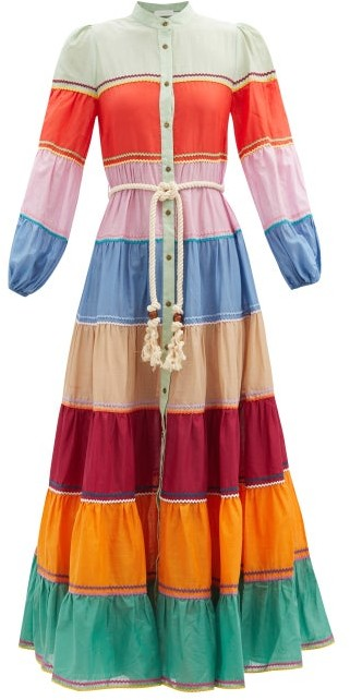 Zimmermann Riders Striped Cotton-voile Dress - Multi