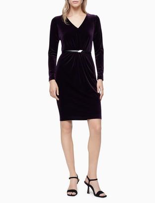 Calvin Klein Velvet V-Neck Belted Sheath Dress