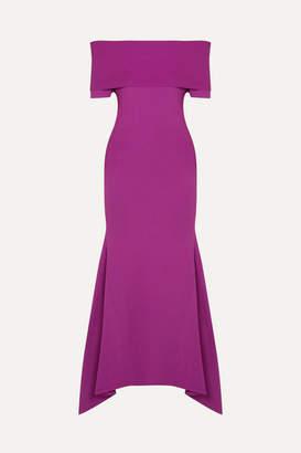 SOLACE London Savina Off-the-shoulder Paneled Stretch-knit Midi Dress - Magenta