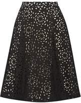 Alice + Olivia Viviana Laser-Cut Cotton-Blend Skirt
