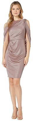 Adrianna Papell Draped Cocktail Jersey Dress with Cold Shoulder