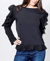 So Nice Black Ruffle Mesh-Shoulder Top