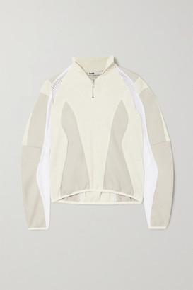 GmbH + Net Sustain Artisa Paneled Organic Cotton, Wool And Mesh Sweater - White