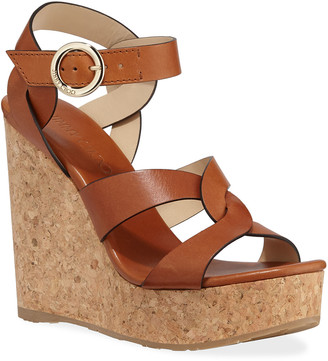 Jimmy Choo Aleili Leather Cork Wedge Sandals