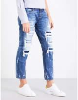Tortoise Denim Savanna distressed slim-fit straight mid-rise jeans