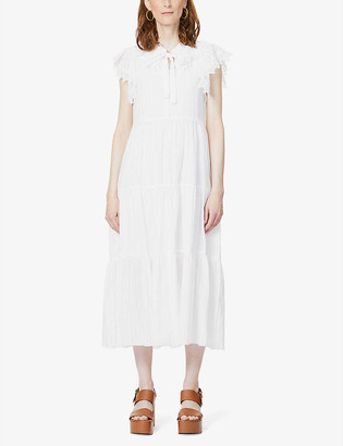 See by Chloe Capped-sleeve cotton-blend maxi dress