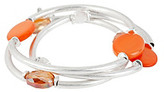Kenneth Cole Coral Shell Circle and Silvertone Stretch Bracelet Set