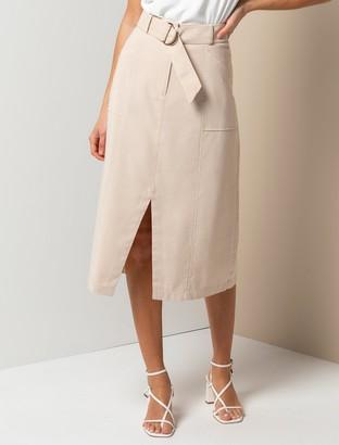 Forever New Sienna Belted Midi Skirt - Beige - 14