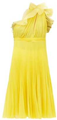 Giambattista Valli Pleated Silk One-shoulder Ruffle Dress - Yellow