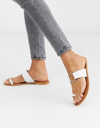 ASOS DESIGN Feline leather toe loop sandal in white